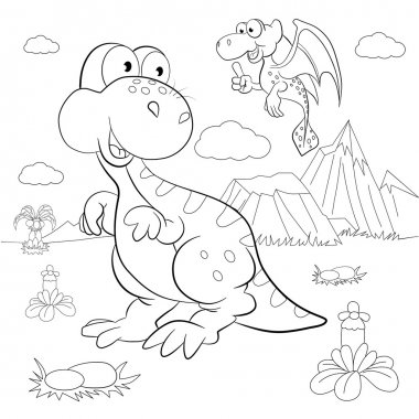 Funny dinosaurs in prehistoric landscape