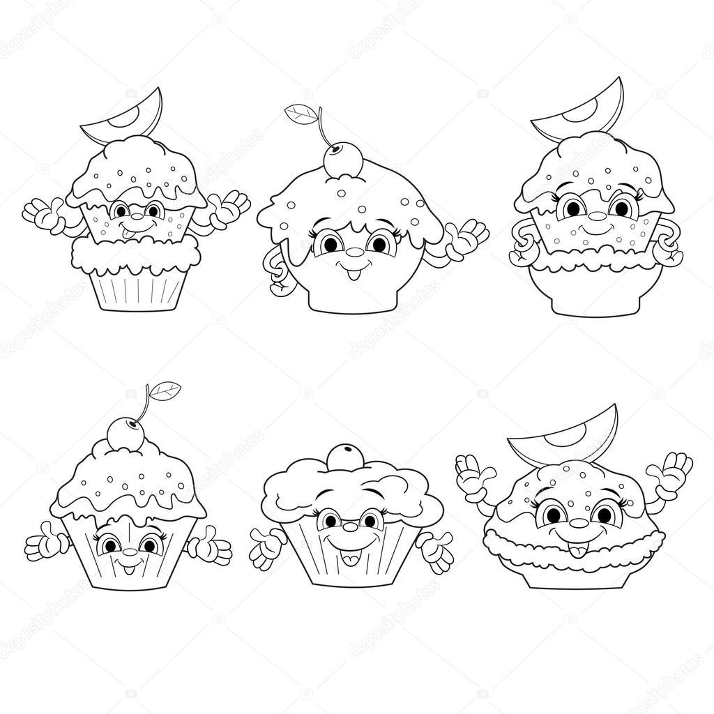 Pasteles Divertidos Dibujos Animados Archivo Imágenes