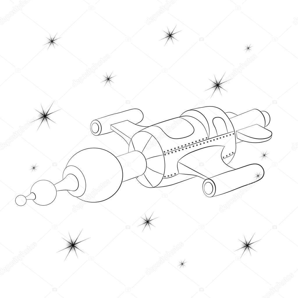 Yıldızlı Cosmos Karşı Uzay Aracı Stok Vektör Vitasunny 96791362