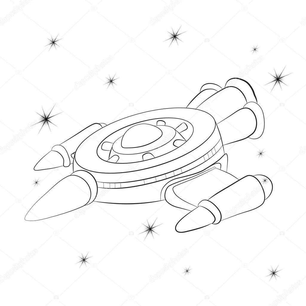 Yıldızlı Cosmos Karşı Uzay Aracı Stok Vektör Vitasunny 96791392