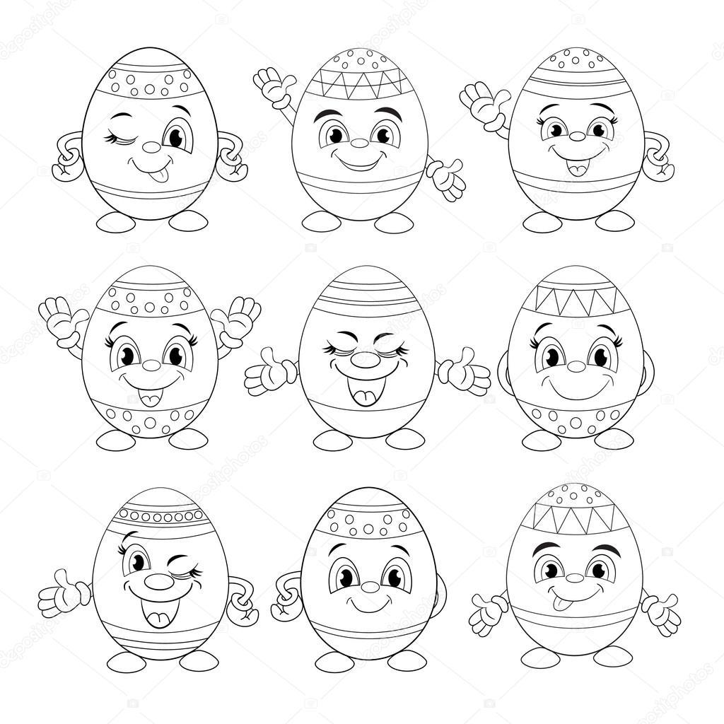 conjunto de diferentes huevos sonrientes — Vector de stock ...