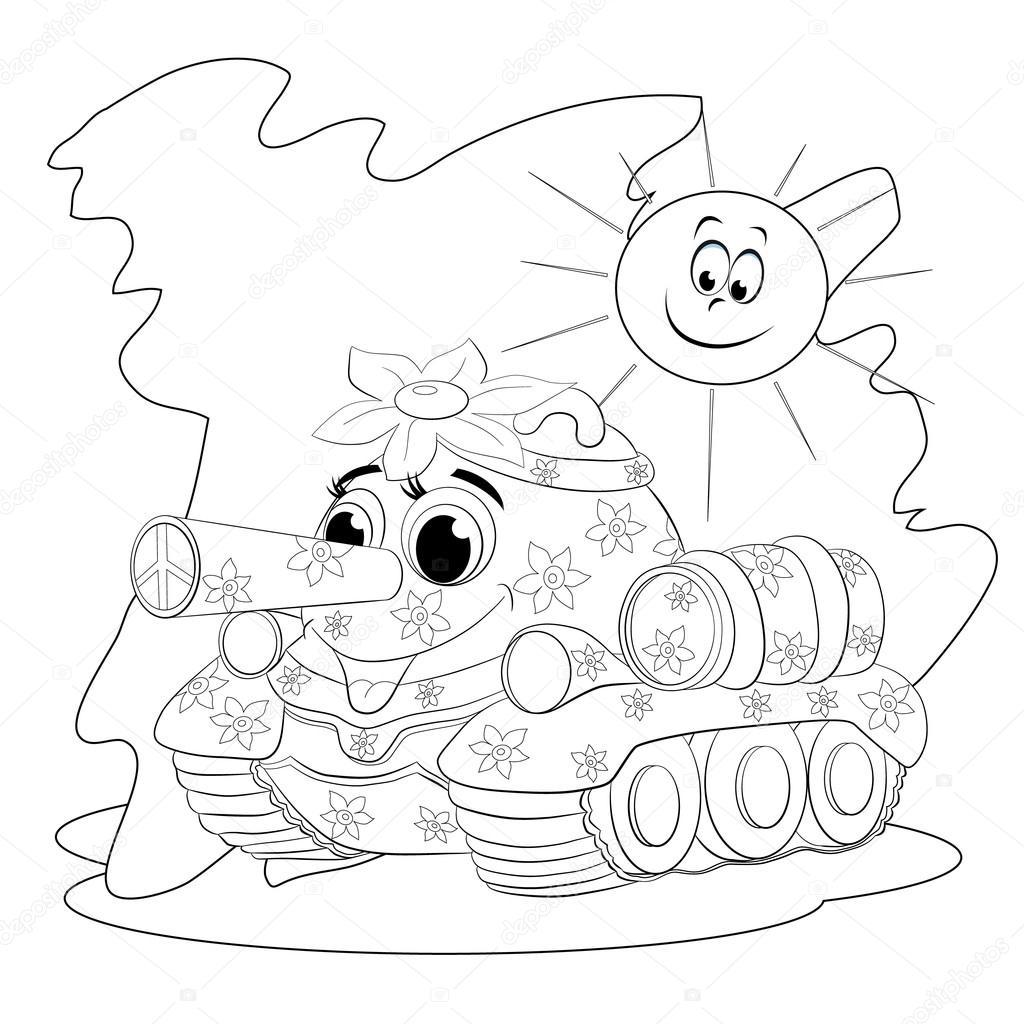 tanque de divertidos dibujos animados — Vector de stock © vitasunny ...