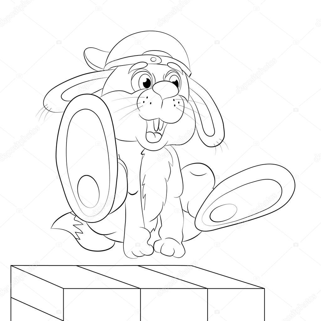 Rastreador de liebres de dibujos animados en salto libre — Vector de ...