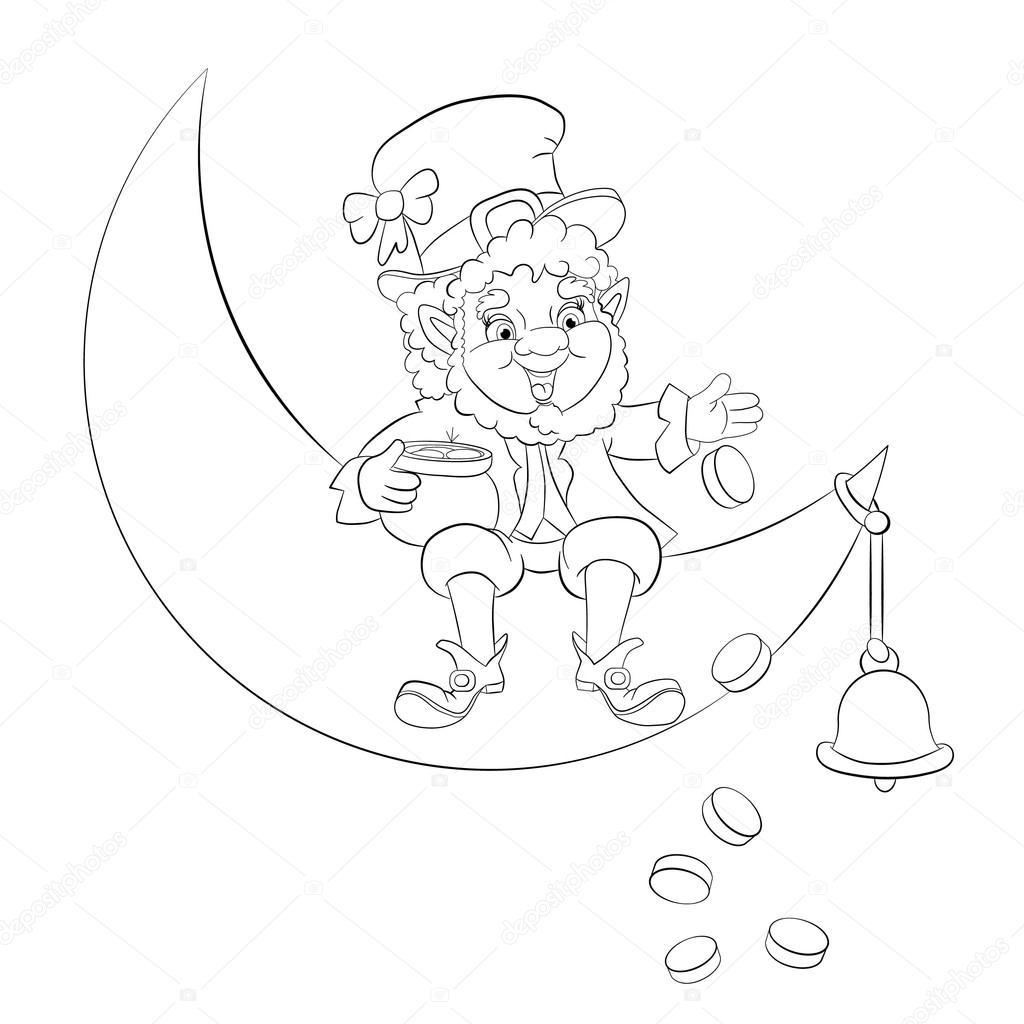 Duende sentado en la luna — Archivo Imágenes Vectoriales © vitasunny ...