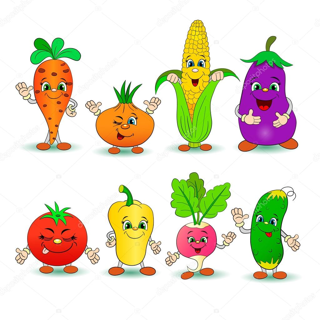Cartoon Set Smiling Vegetables Vector