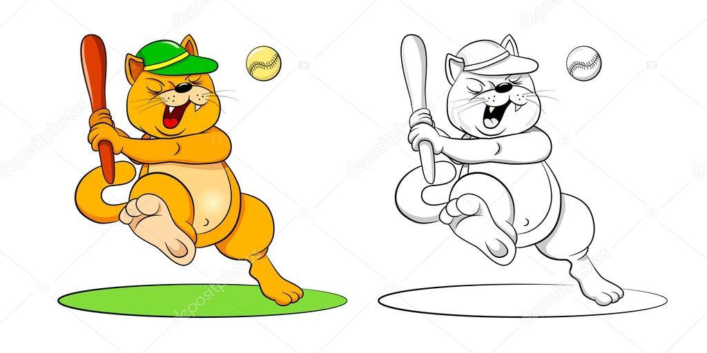 gatos de dibujos animados con bates de béisbol — Vector de stock ...