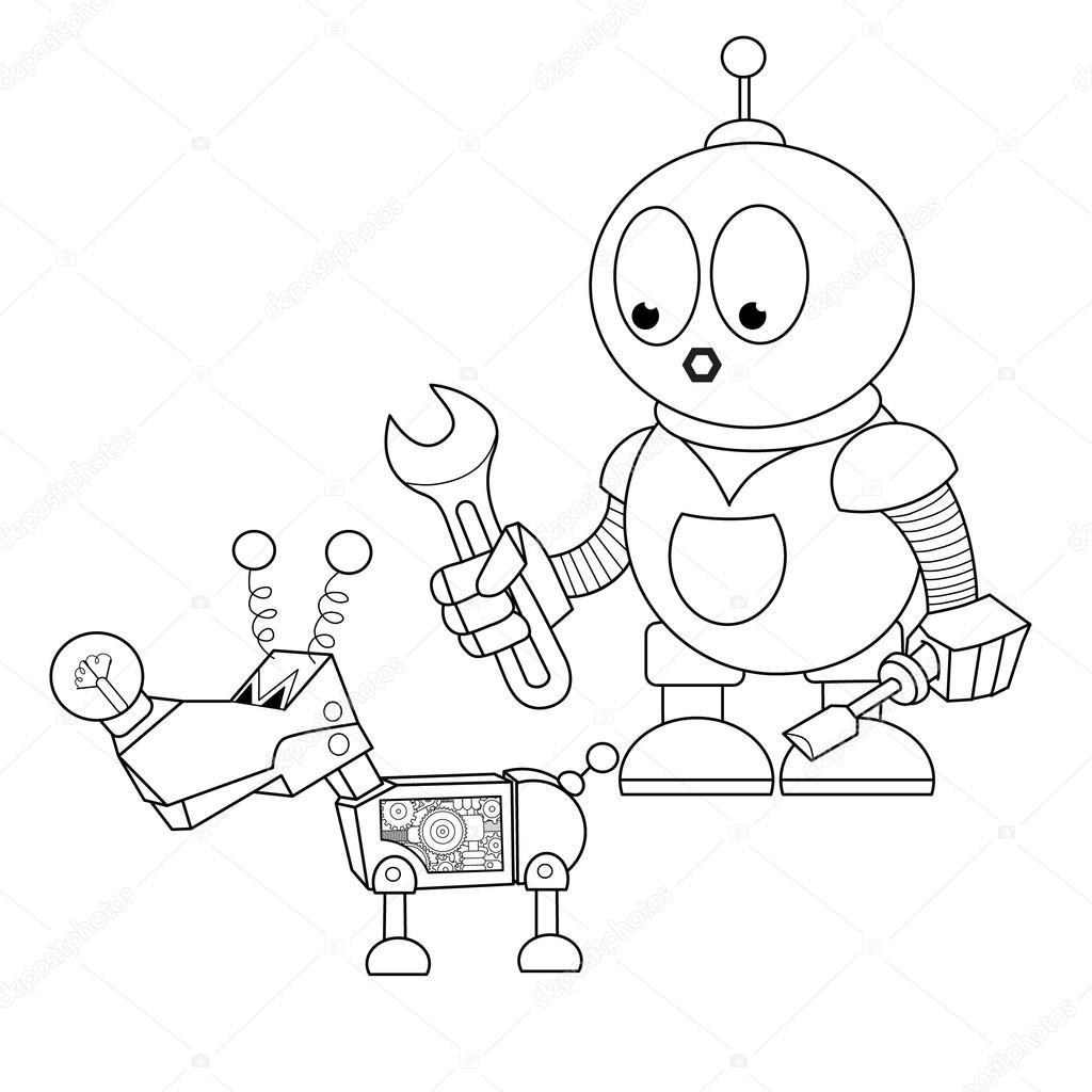 mecânico de robô de desenho animado vetor de stock vitasunny