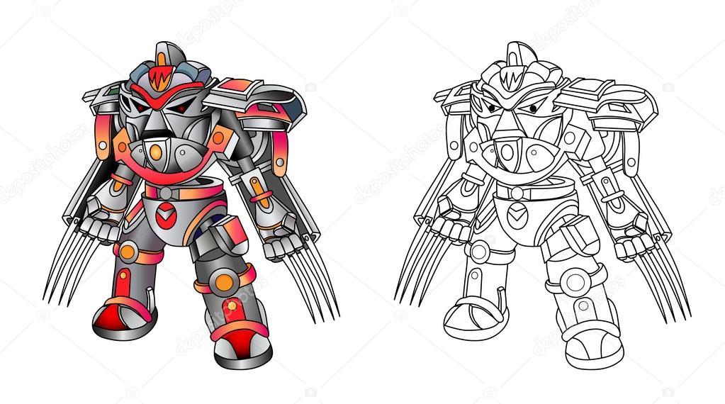 Cyborgs de robots con armas — Vector de stock © vitasunny #96816014