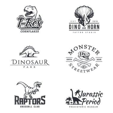Dino logo set. Dinosaur logotype. Raptor sport mascot design. Vector T-rex label template. Jurassic period illustration. Dino park insignia concept. Ancient world badge collection