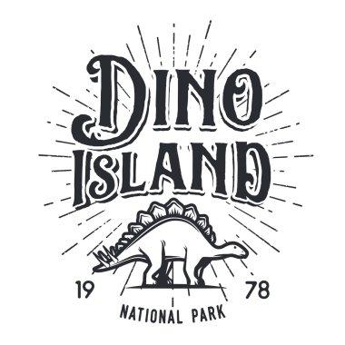 Vector dinosaur island logo concept. Stegosaurus national park insignia design. Jurassic period illustration. Dino Vintage T-shirt badge on white background