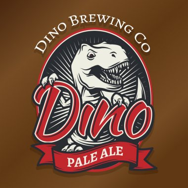Vector dino craft beer logo concept. T-rex bar insignia design. Pale ale label template. Vintage Jurassic period illustration. Tyrannosaurus T-shirt badge.