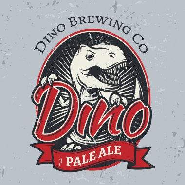 T-rex brewery insignia design. Pale ale label template. Vector dinosaur craft beer logo concept. Vintage cretaceous period illustration. Tyrannosaurus T-shirt badge on grunge background
