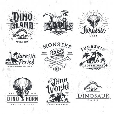 Big Dinosaur Vector Logo Set. Triceratops t-shirt illustration concept. Raptors security insignia design template. Vintage Jurassic Period labels. Theme park badges