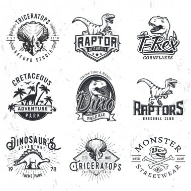 Set of Dino Logos. T-rex skull t-shirt illustration concept on grunge background. Raptors sport team insignia design. Vintage Jurassic Period badge.