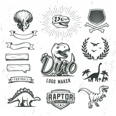 Dino logo maker set. Dinosaur logotype creator. Vector T-rex banner template. Jurassic period laurel crest illustration. Shield insignia concept design. Cretaceous world badge or label collection.