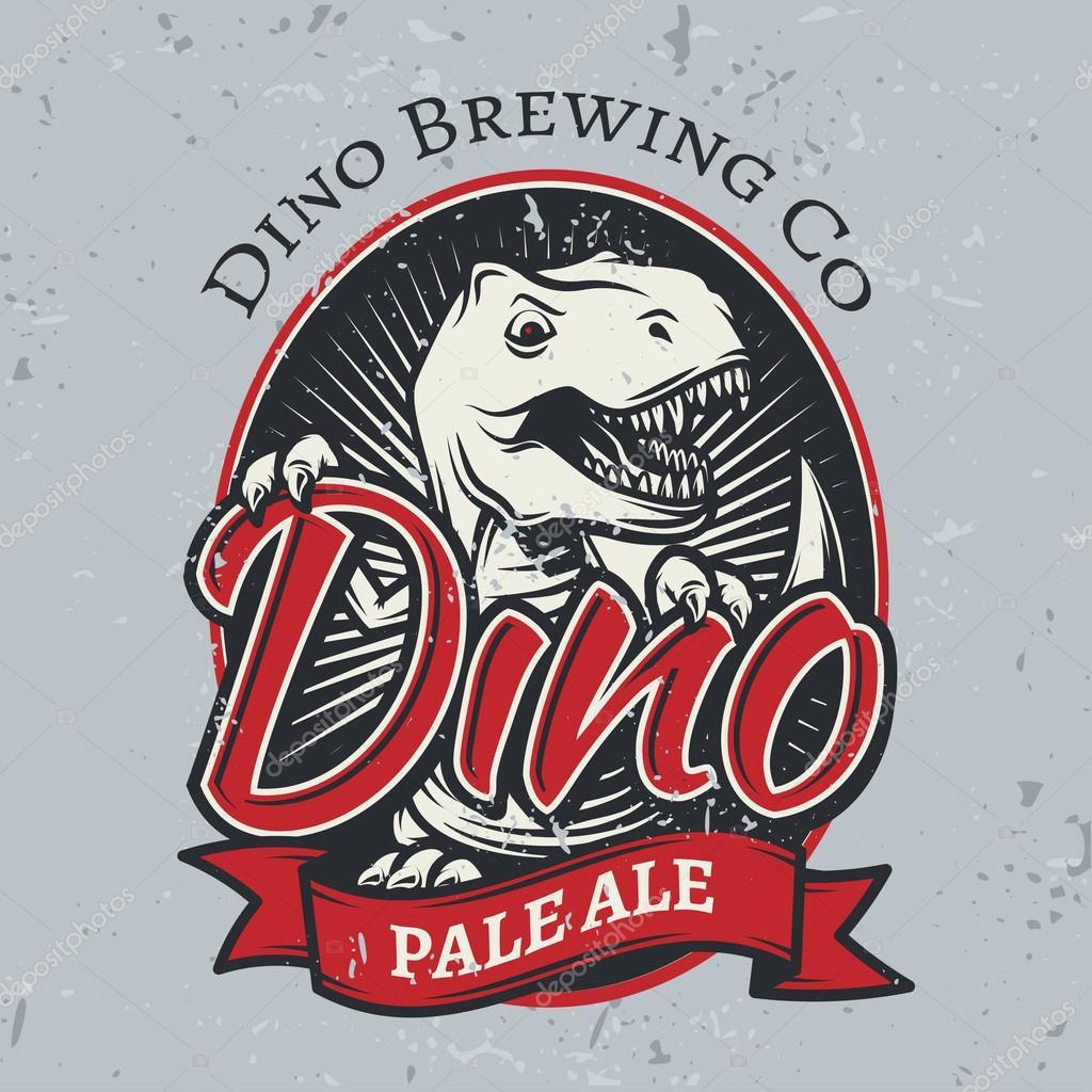 t rex brewery insignia design pale ale label template vector