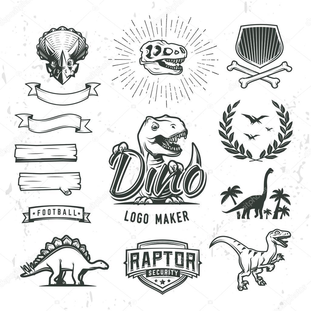 Dino logo creador conjunto. Creador del logotipo de dinosaurio ...