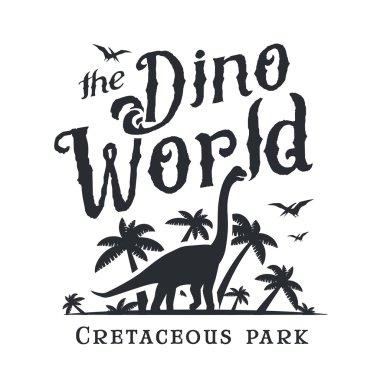 Dino world logo template. Dinosaur park logotype. Diplodoc t-shirt vector design. Jurassic period retro illustration. Lost world insignia concept. Adventure badge