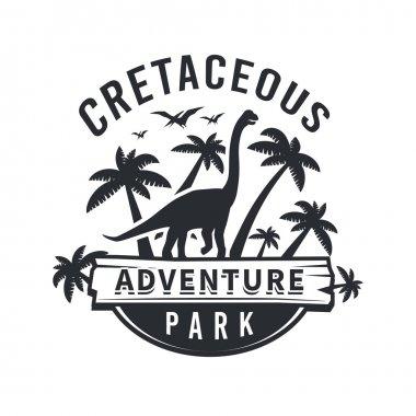 Vector dinosaur logo concept. brachiosaurus adventure park insignia design. Jurassic period illustration. Dino Vintage T-shirt badge on white background