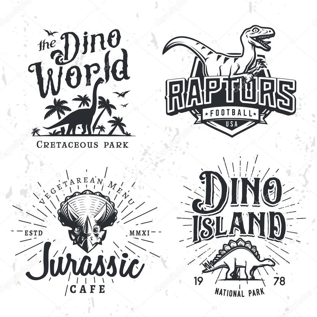 dinosaur vector logo set triceratops tshirt illustration