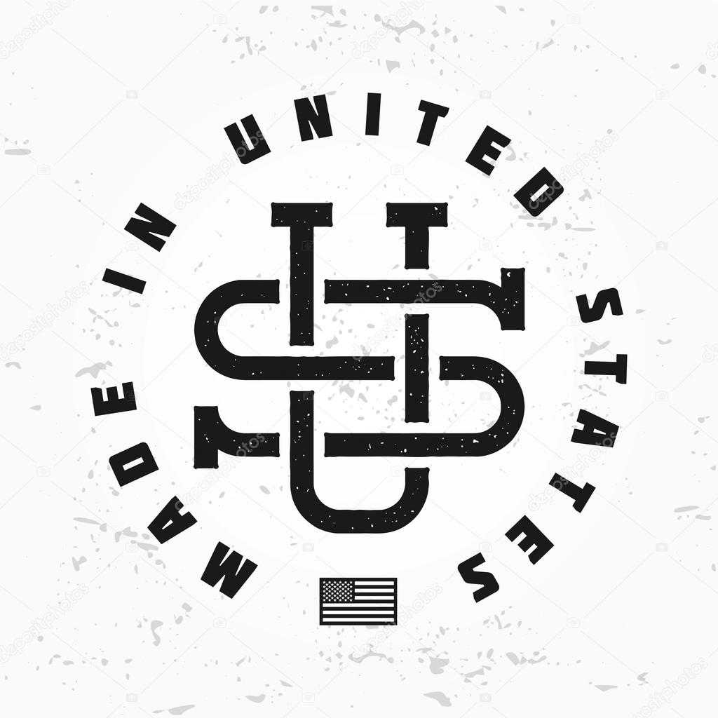 19769e28 Made in USA monogram vector. Vintage America logo design. Retro United  States seal. US label illustration. Hipster t-shirt graphic.