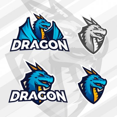 Creative dragon logo concept. Sport mascot design. College league insignia, Asian beast sign, Dragons illustration, School football team vector