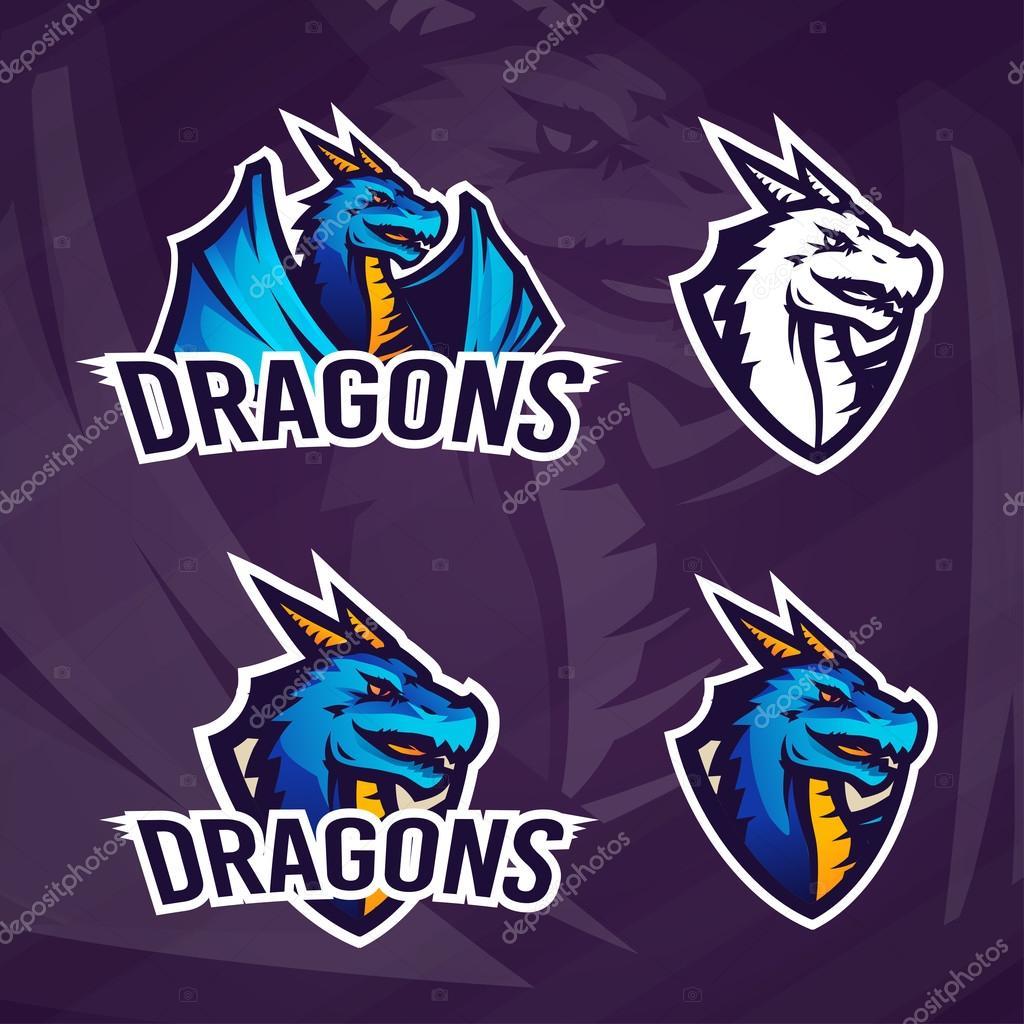 創造的なドラゴンのロゴのテンプレート スポーツ マスコット デザイン