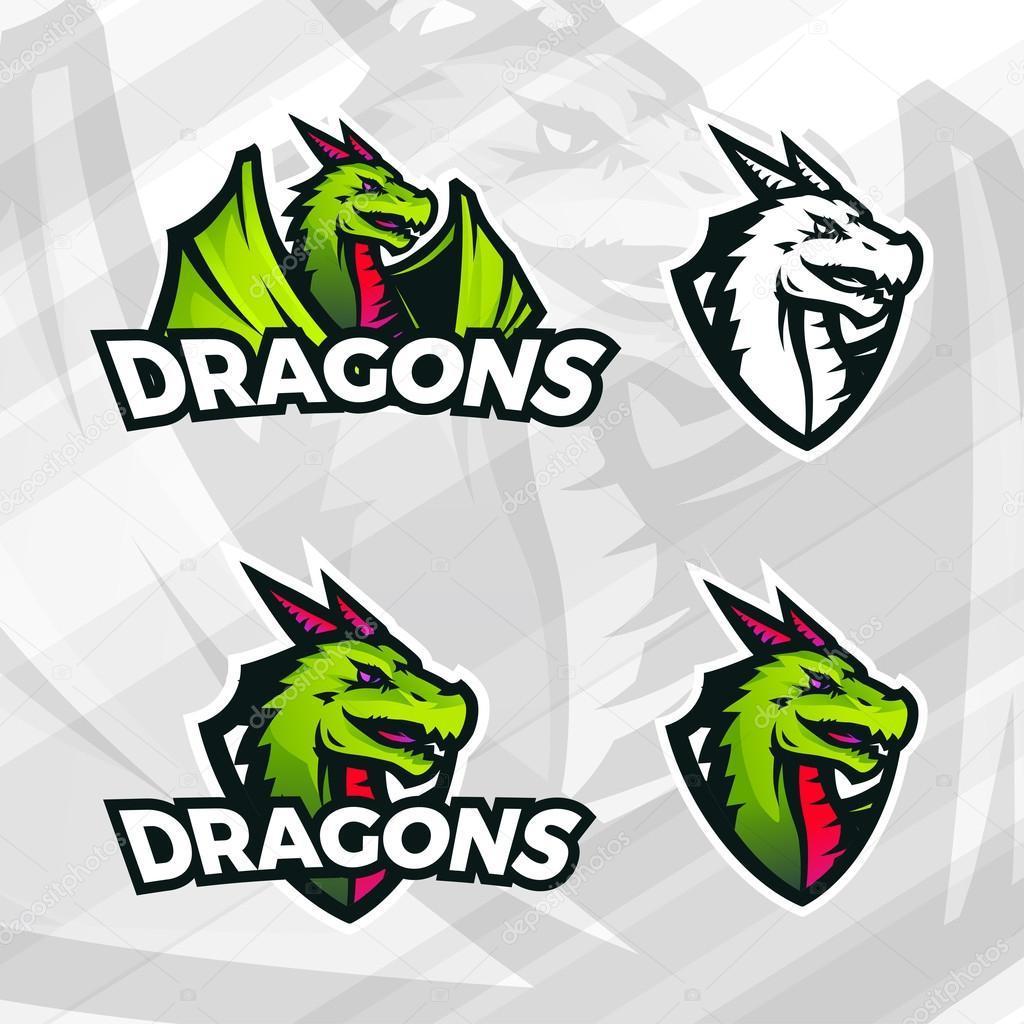 Drachen-Logo-Vorlage. Sport-Maskottchen-Design. College-Liga ...