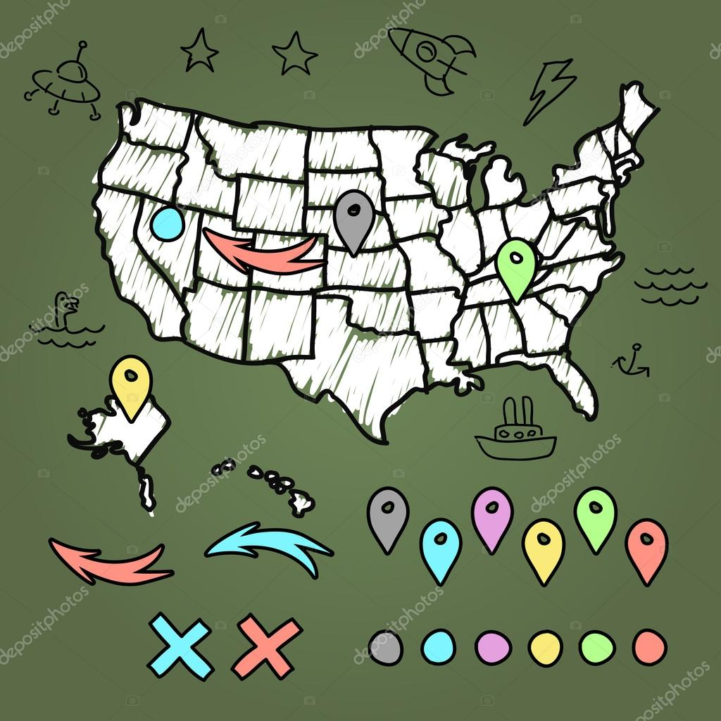 hand drawn us map whith map pins vector illustration stock vector