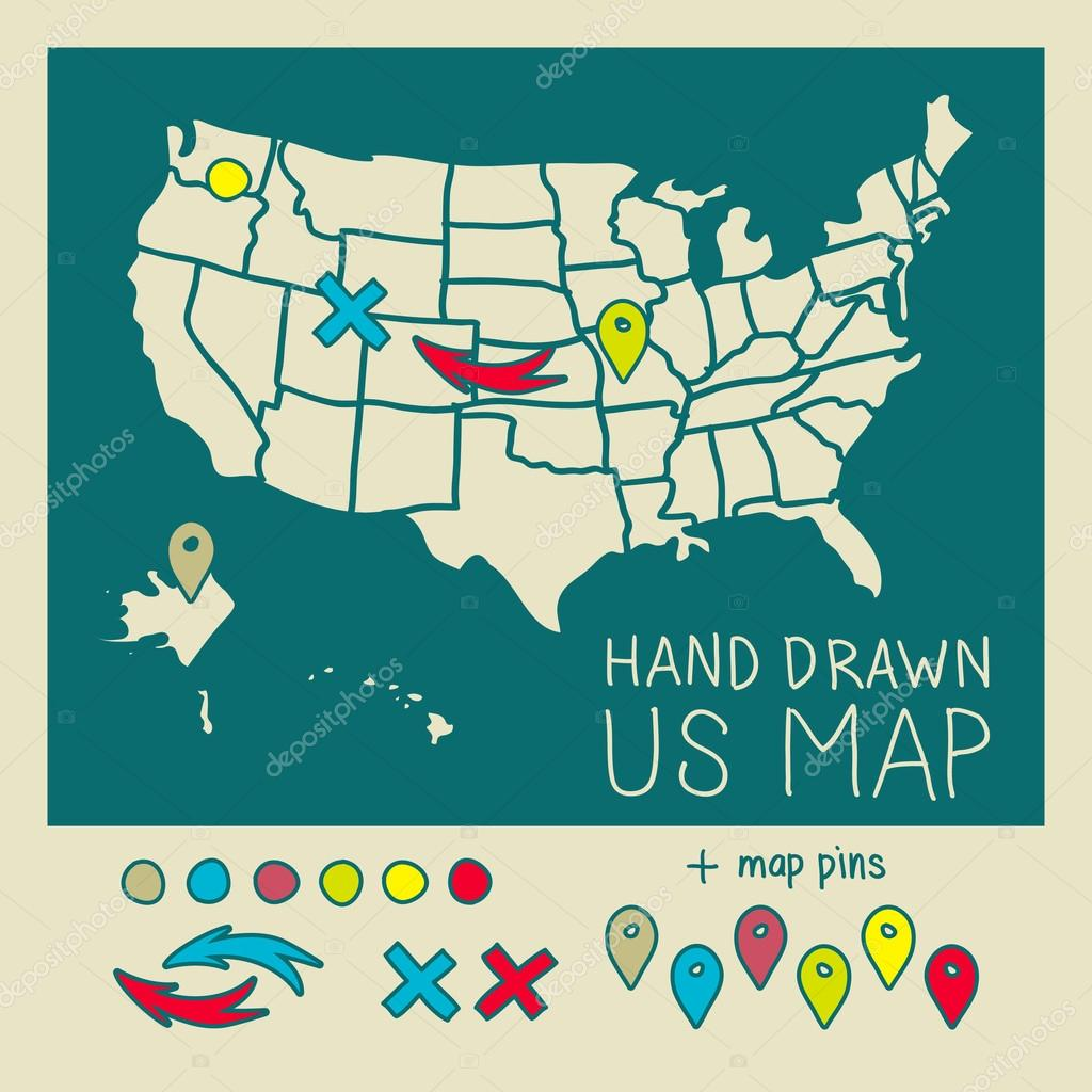 hand drawn us map with map pins vector illustration stock vector