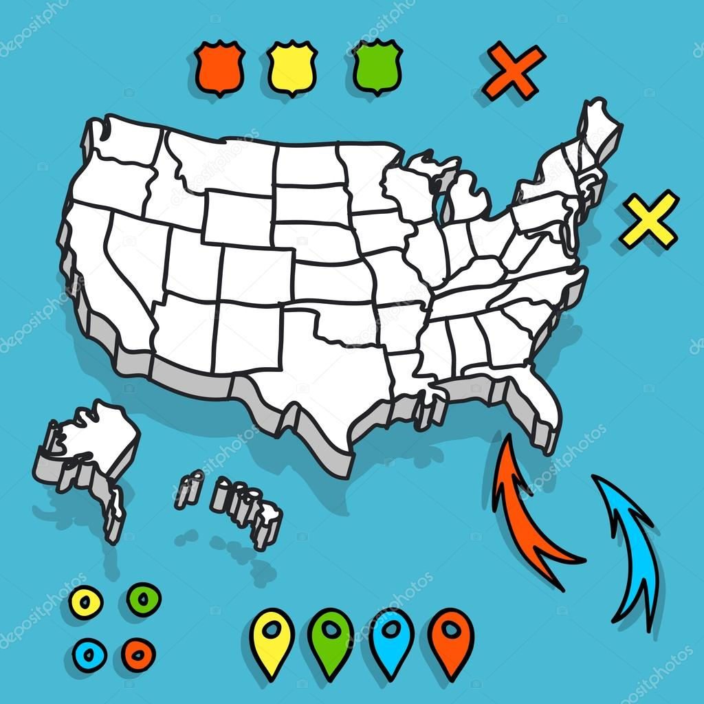 Hand drawn US map vector illustration — Stock Vector © gromovpro ...