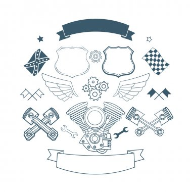 Set of biker label vector elements
