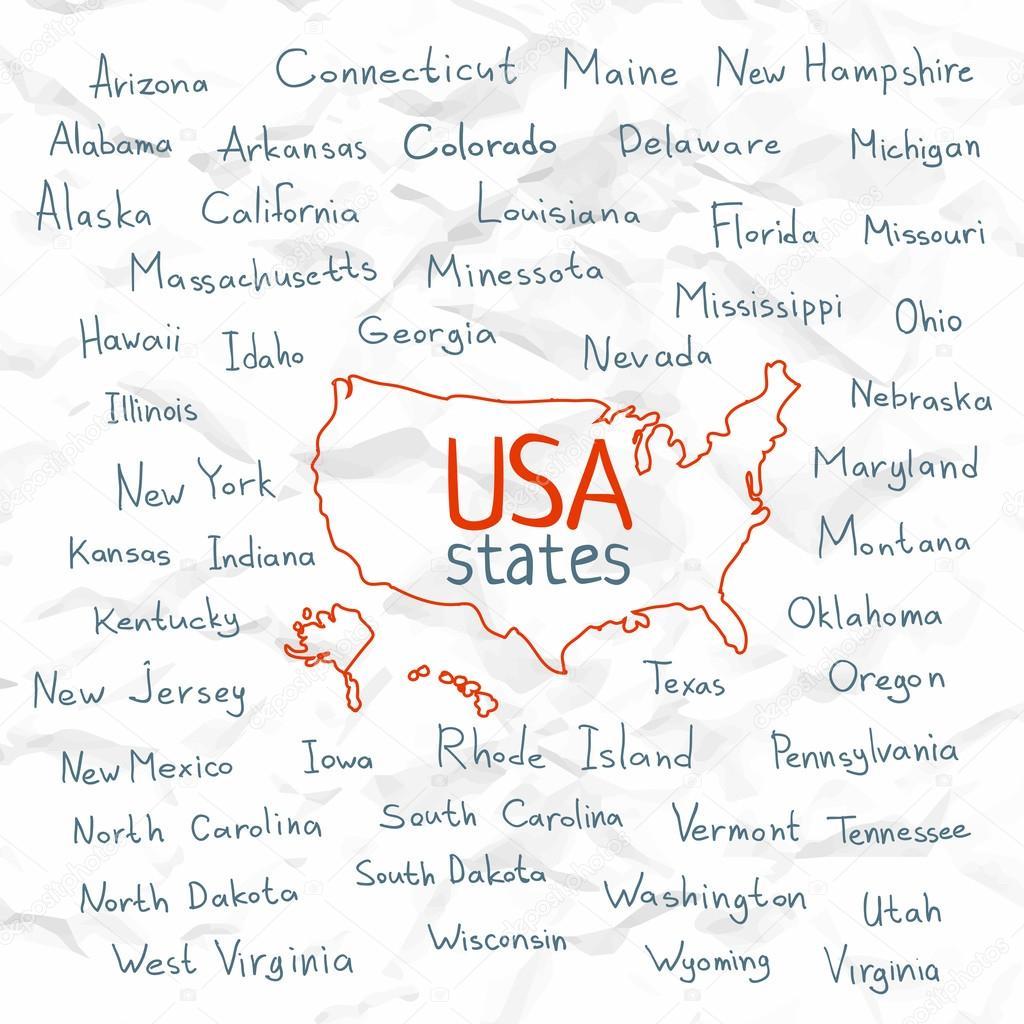 Hand Drawn USA states vector illustration — Stock Vector © gromovpro ...