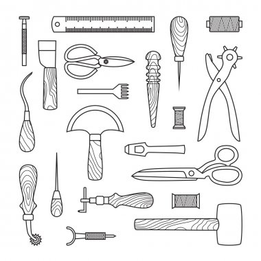 Leather working tools vector illustration