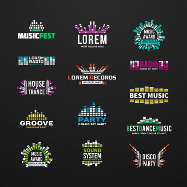 First big set music equalizer emblem vector elements on dark background