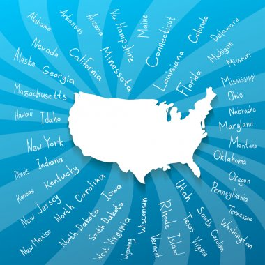 Freehand USA states vector illustration