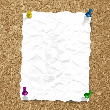 Vector crumpled paper sheet on cork texture with pins