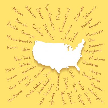 Hand Drawn USA states vector illustration