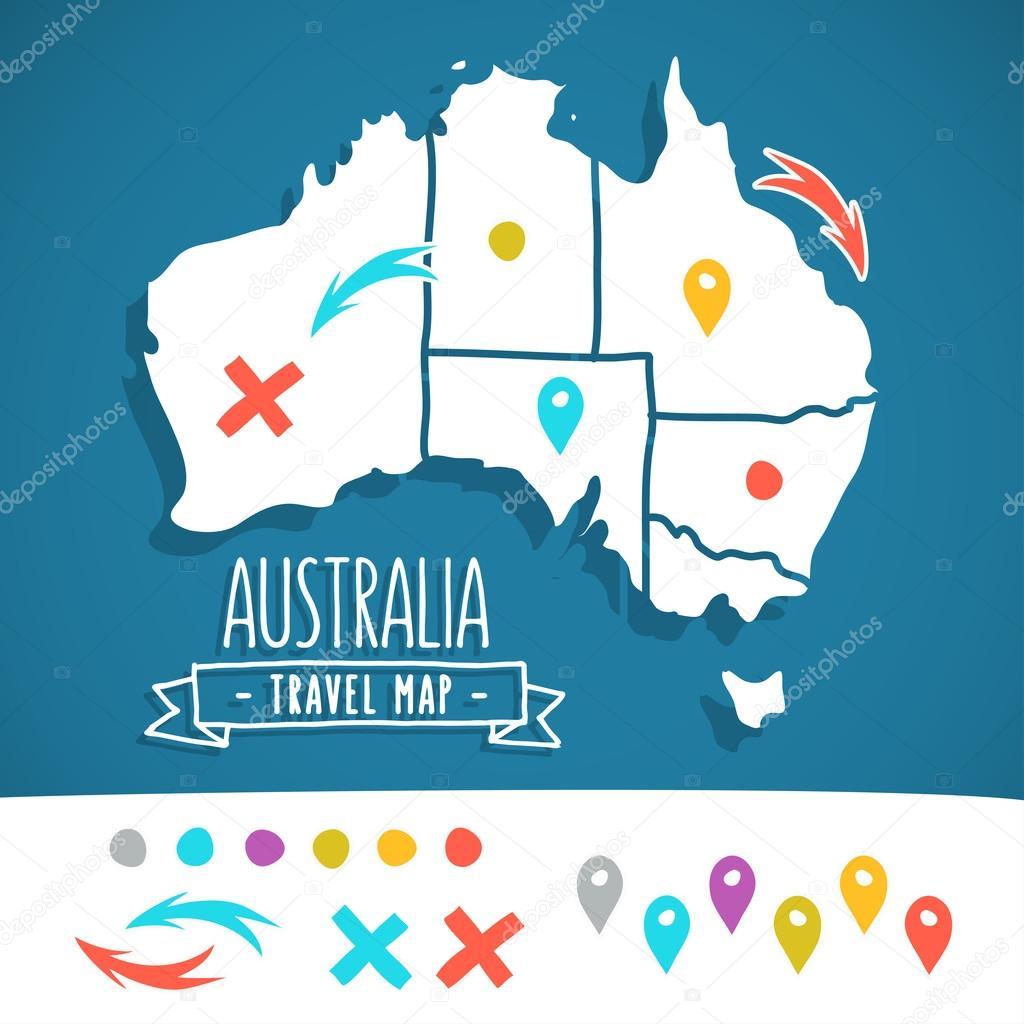 Handgezeichnete Australien-Reise-Karte mit Stifte-Vektor ...