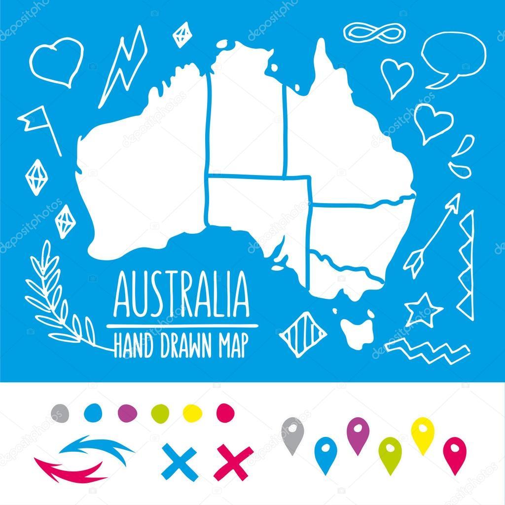 Mapa de viajes de Australia con los pernos de Doodle y extras vector ...