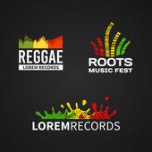 Fotografie Satz von Reggae Musik Equalizer Logo Emblem Vektor auf dunklem Hintergrund