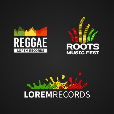 Set of reggae music equalizer logo emblem vector on dark background