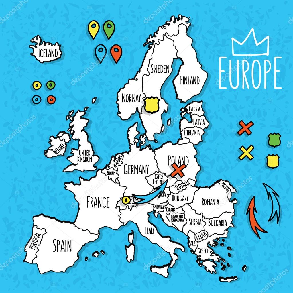 Cartoon style hand drawn travel map of europe with pins vector cartoon style hand drawn travel map of europe with pins vector illustration stock vector gumiabroncs Images