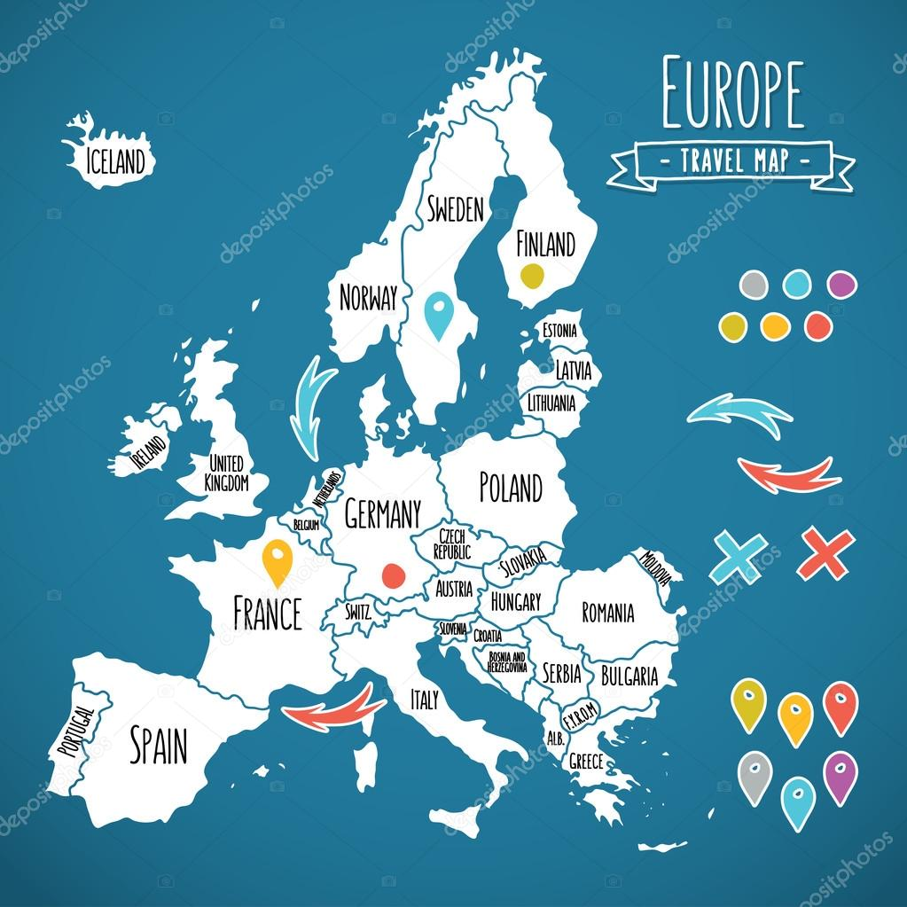 Hand drawn Europe travel map with pins vector illustration