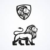 Fotografie Lion logo sport mascot emblem vector design illustration