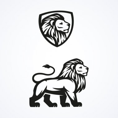 Lion logo sport mascot emblem vector design illustration