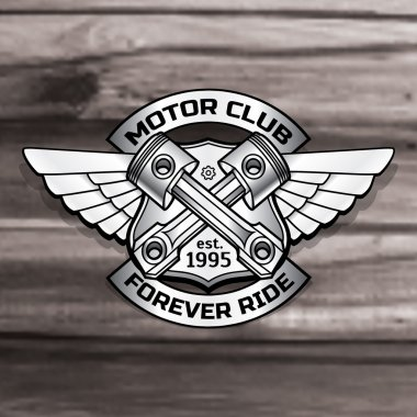 Vector biker logo illustration. Motor club piston vintage steel labels. Racer insignia