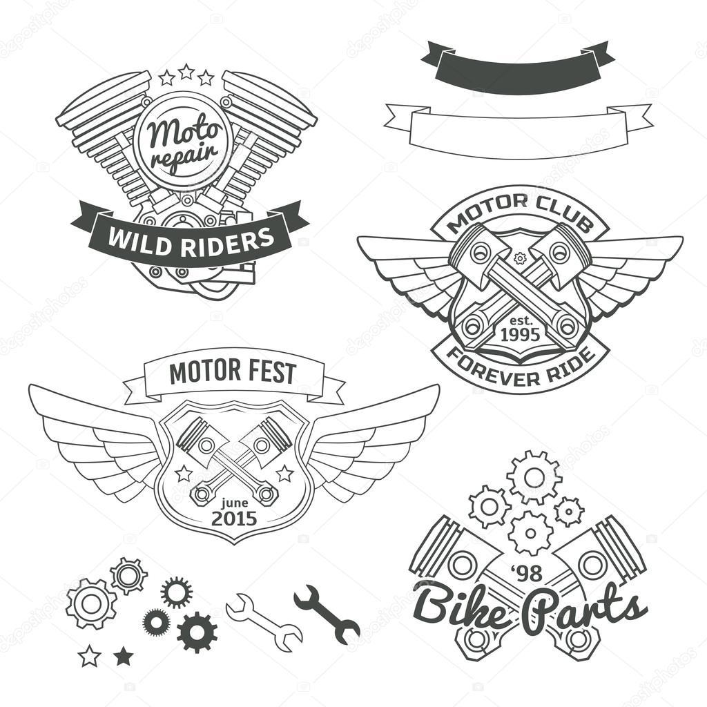 Biker-Jahrgang-Etiketten, Oldschool motor Logo Vektor-Design ...