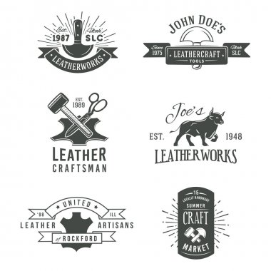 First set of grey vector vintage craft logo designs, retro genuine leather tool labels. artisans market insignia illustration