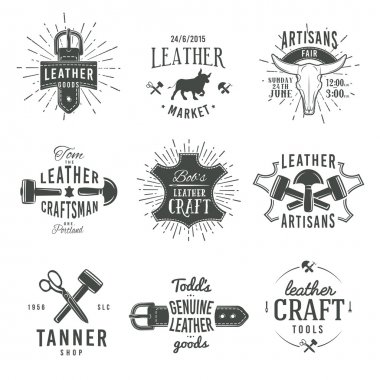 Second set of grey vector vintage craftsman logo designs, retro genuine leather tool labels. artisan craft market insignia illustration stock vector